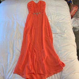 Coral Maxi Prom Dress - Size 0